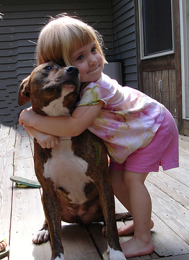 dog with girl